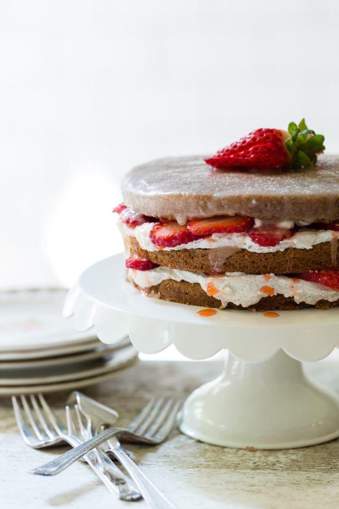 Jennifer Esposito's Vegan Strawberry Lemon Cake with Lemon Glaze