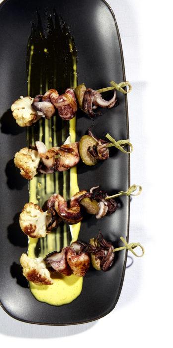 Gluten-Free Cauliflower and Squid Skewers with Aïoli Recipe