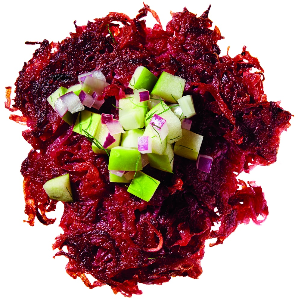 Gluten-Free Beet Latkes with Green Apple and Fennel Relish