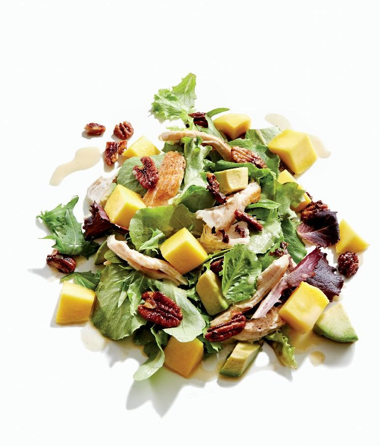 Gluten-Free Chicken, Mango, and Avocado Salad with Candied Pecans Recipe