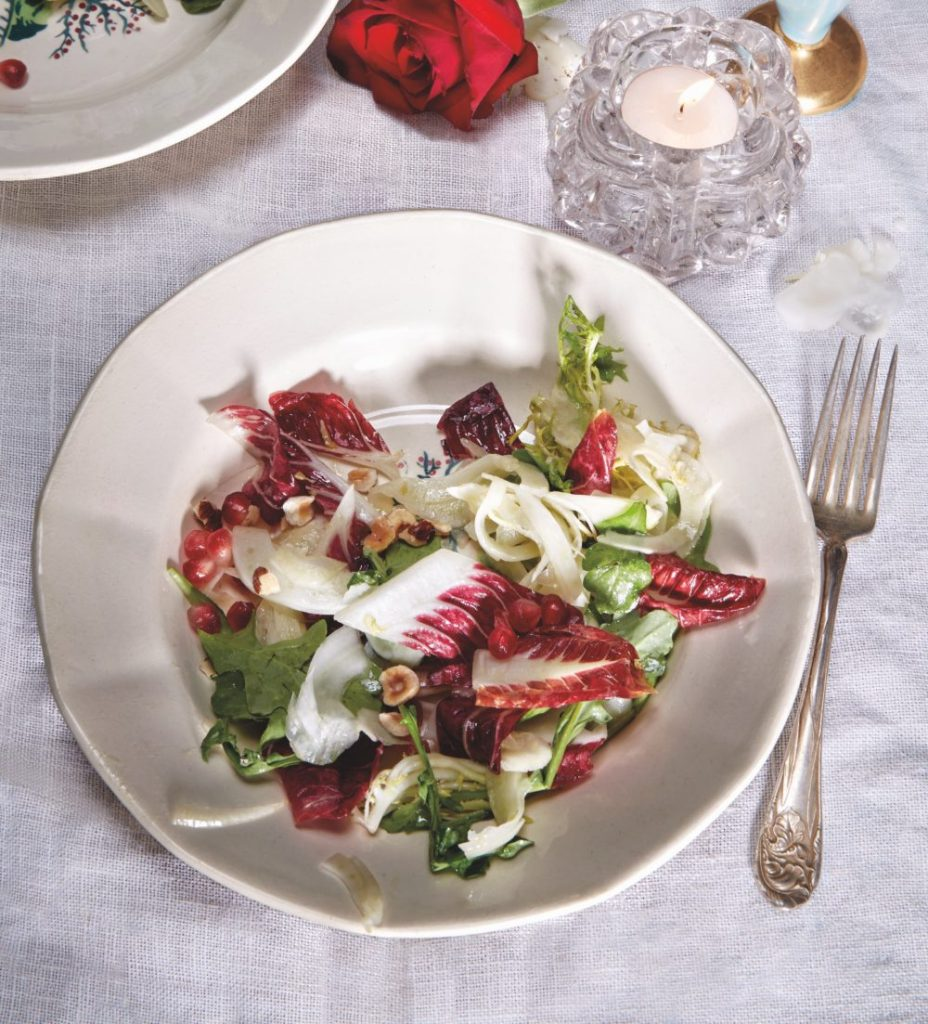 Chicories Salad with Moscato Vinaigrette, Hazelnuts, and Pomegranate Seeds Recipe