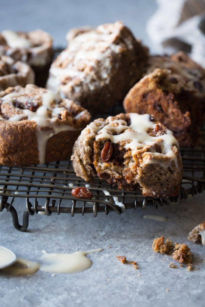 Gluten-Free Buckwheat Cinnamon Swirl Biscuits with Cream Cheese Icing