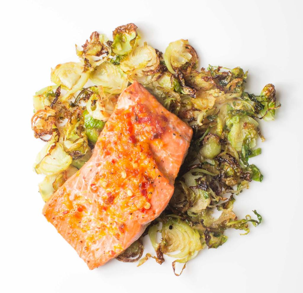 Roasted Maple-Chili Salmon with Brussels Sprouts Gluten-Free Recipe