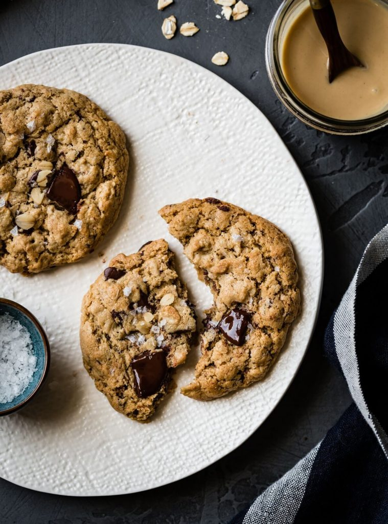 Vegan, Gluten-Free Salted Tahini Chocolate Chip Oatmeal Cookies Gluten-Free Recipe