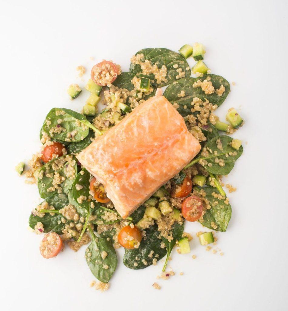 Gluten-Free Slow-Roasted Salmon with Quinoa Salad and Sunflower-Tamari Dressing