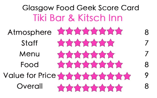 Tiki Bar Glasgow Food Geek Review
