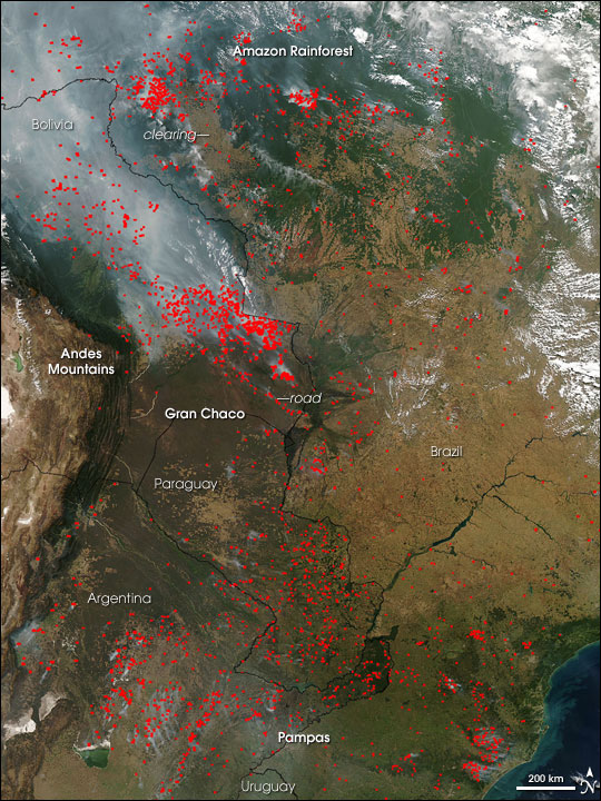 Fires in South America Image. Caption explains image.