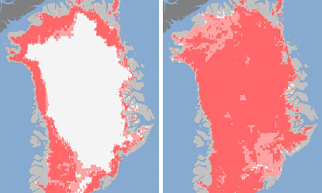 two satellite images of the Greenland ice sheet
