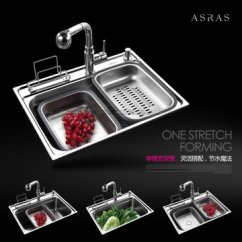 Farm Kitchen Sink Decor Accessories 阿萨斯as6045水槽 阿萨斯 Asras 304不锈钢水槽洗菜盆单槽套装 5件套 不