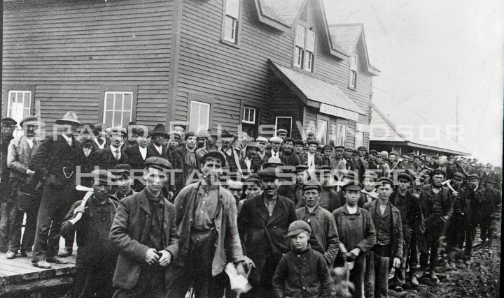 Mill Construction Laborers at Grand Falls Station. 1906