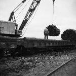 Woods Department. Loading prepwood on train at Terra Nova River. September 1956