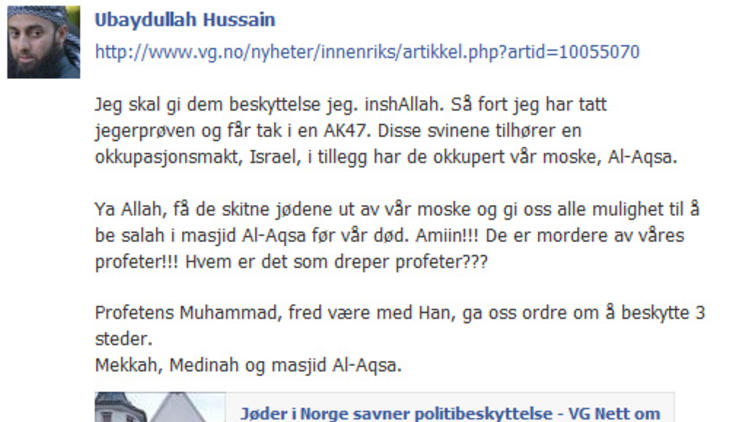 TRUSLER: Slik så trusselmeldingen ut på Facebook. Foto: Skjermdump