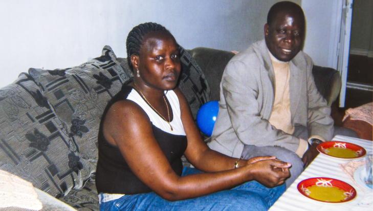 Sammen: Familiefaren Okello Akuay Ochalla (52) er arrestert i Etiopia.Her er han sammen med kona Obo Adwo Omot. Foto: Privat