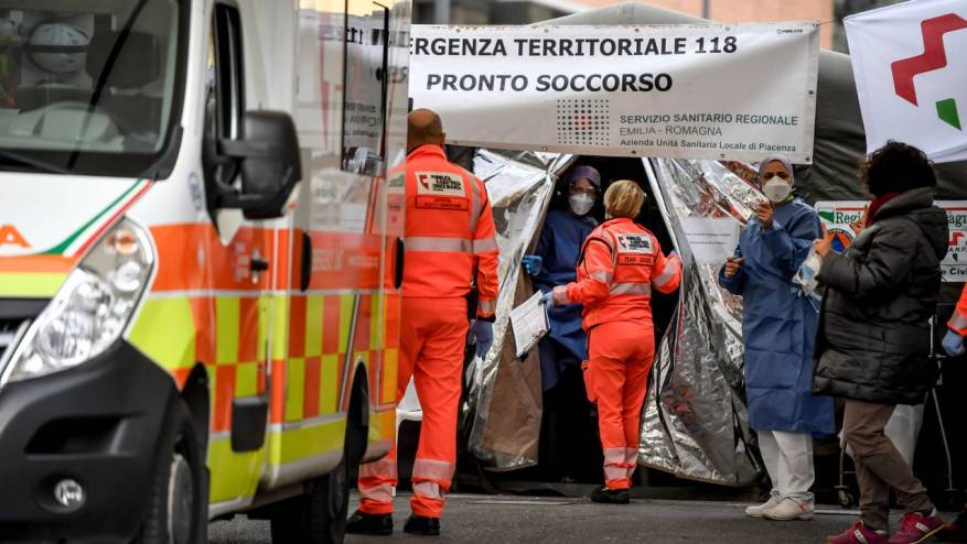 Tents outside the emergency room in northern Italy