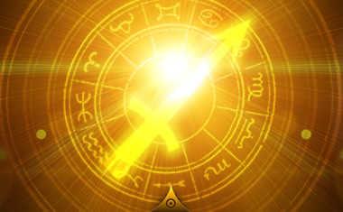 sun with sagittarius zodiac sign symbol