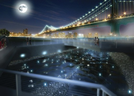A rendering of David Benjamin's proposed Pier 35 EcoPark along New York's East River, designed in collaboration with Natalie Jeremijenko and SHoP Architects. The waterfront attraction will measure water quality using mussels. (This rendering was prepared for the New York State, Department of State with funds provided under Title 11 of the Environmental Protection Fund.) (Source: The Living)