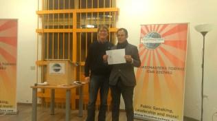 Danilo medaglia d'argento nella gara di Table Topic Speech improvvisato in Italiano