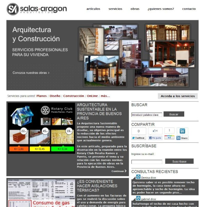 SALASARAGON.COM.AR. Web de estudio de arquitectura. Wordpress + theme nuevo. http://bit.ly/ArchivoSalasaragon