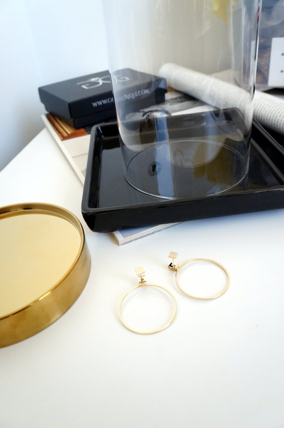 JEWELRY GOLD COLOUR CIRCLE EARRINGS GG UNIQUE