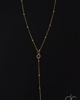 Long gold plated necklace with small circle - GG UNIQUE