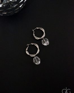 Twisted hoop earrings with mountain crystal stones - GG UNIQUE