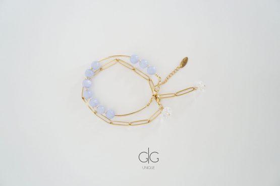 Double layer stainless steel violet stones bracelet - GG UNIQUE