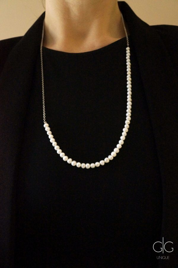 Minimal freshwater pearl necklace with a stainless steel chain - GG UNIQUE
