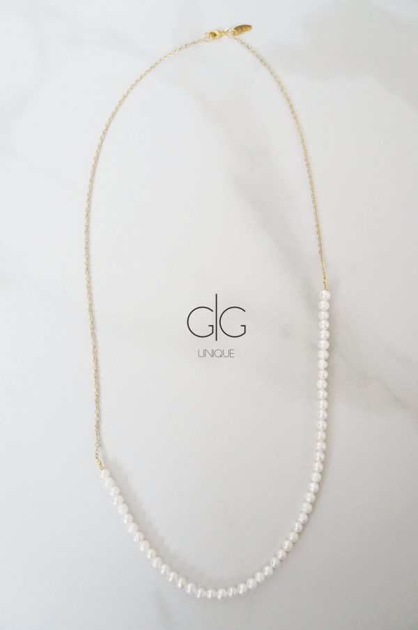 Minimal freshwater pearl necklace with a gold plated chain - GG UNIQUE