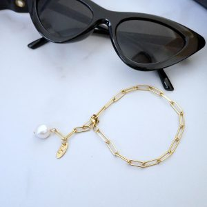Gold-filled chain bracelet with a freshwater pearl - GG UNIQUE