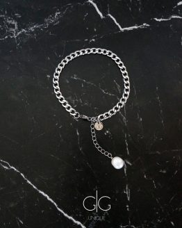 Stainless steel anklet with a freshwater pearl - gg unique