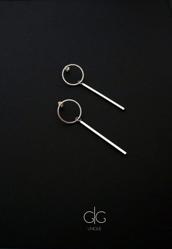 Circle and long bar earrings silver color - GG UNIQUE