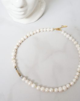 Large pearl necklace with hematite stones - GG UNIQUE