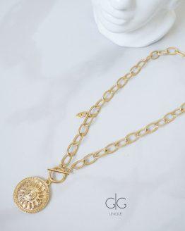 Sun symbol massive trendy gold plated necklace - GG UNIQUE