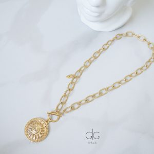 Sun symbol massive trendy gold plated necklace - GG UNIQUE