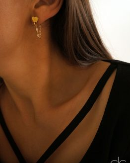Minimal Heart Stud Earrings with hanging chain - GG UNIQUE