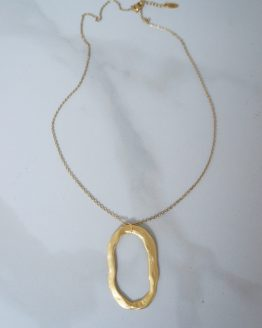 Minimal long necklace with a large oval ring - GG UNIQUE