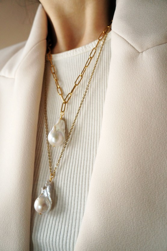 Exclusive large baroque pearl gold plated necklace