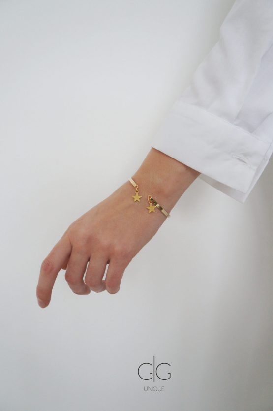 Stainless steel bangle bracelet with stars in gold - GG UNIQUE