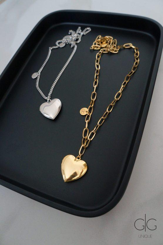 Large heart locket pendant polished lockets