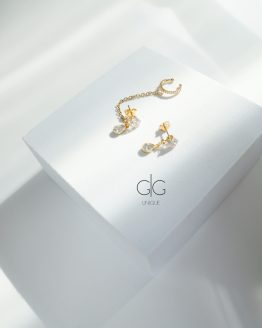 Zirconium earrings with chain linking ear cuff in gold - GG UNIQUE