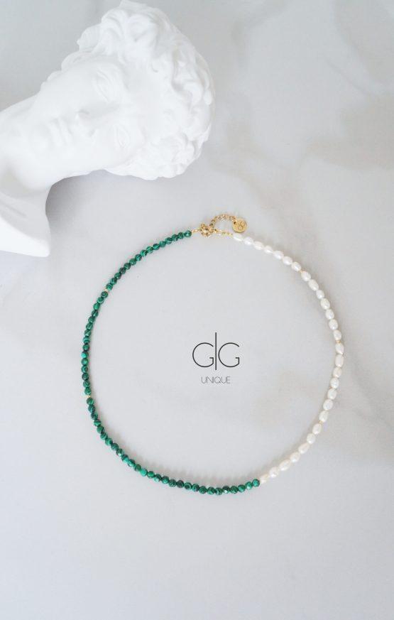 Pearl and green color malachite stone necklace - GG UNIQUE