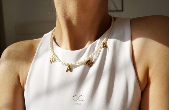 """Small pearl necklace """"MAMA"""" - GG UNIQUE"""