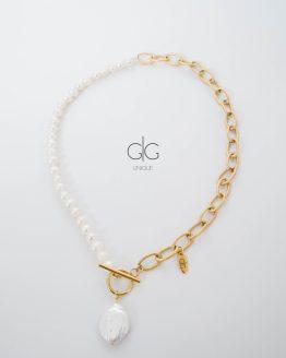 Exclusive half Keshi pearls half chain necklace - GG Unique