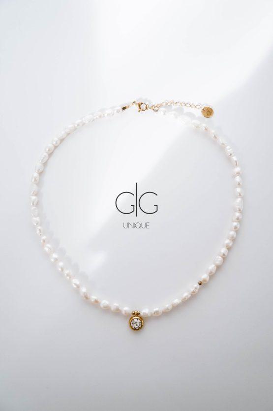 Pearl necklace with zircon pendant - GG Unique