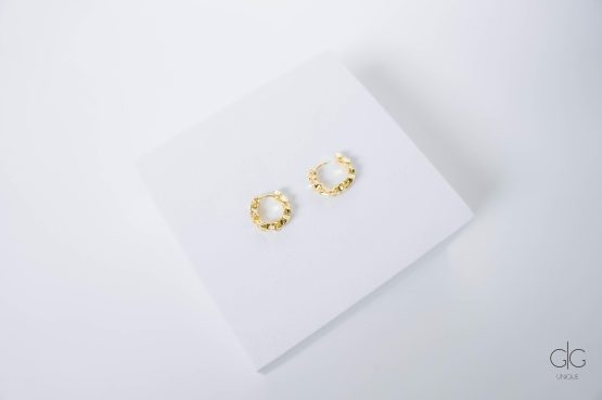 Irregular shape gold plated small hoops - GG Unique