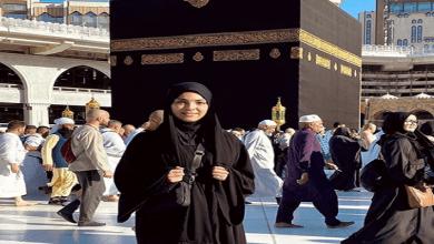 """صورة الفنانة رقية ماغي تؤدي مناسك العمرة وتعلق:""""اللهم تقبل عمرتنا"""""""
