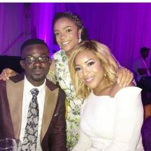 Nana Appiah Mensah and Joselyn Dumas at Sarkodie and Tracy's white wedding held at Labadi Beach Hotel in Accra on Saturday, July 21.