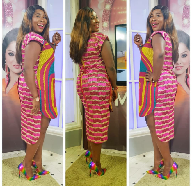 Gloria Sarfo served a look in this uneven-cut dress and gorgeous multi coloured heels