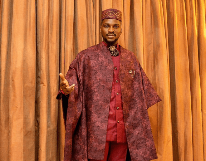Tobi Bakre serving a look in classy agbada for hosting duties for TFAA