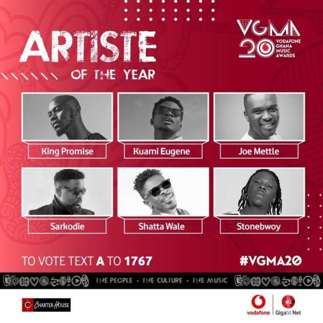 VGMA 2019 Artiste of the Year banner